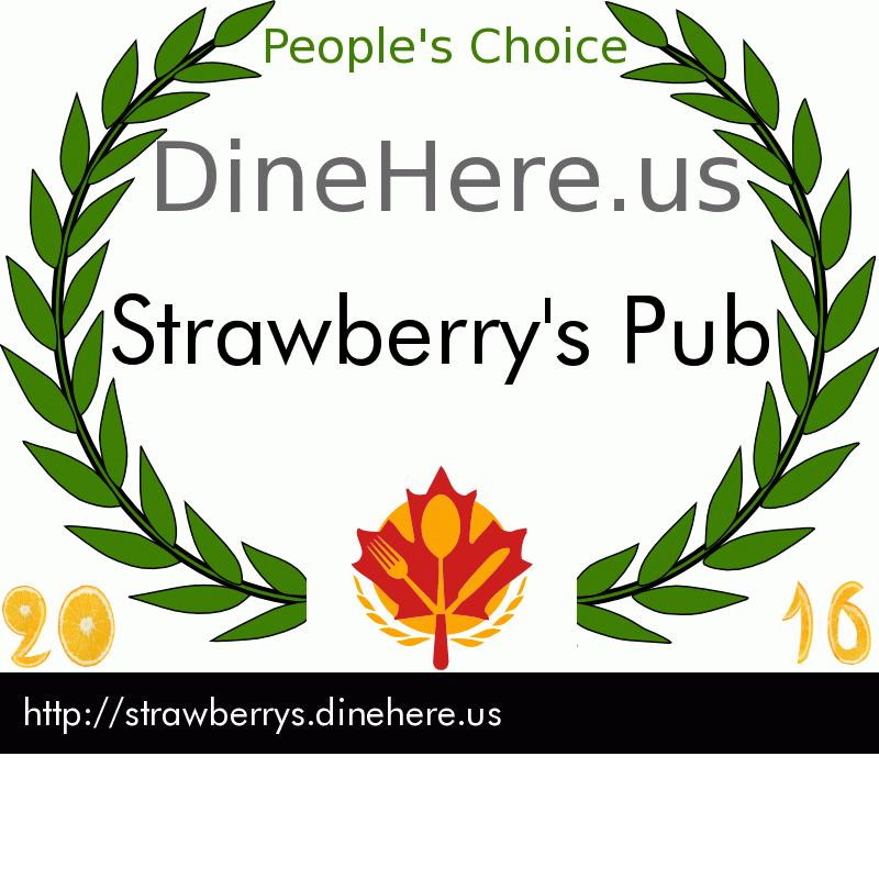 Strawberry's Pub DineHere.us 2016 Award Winner
